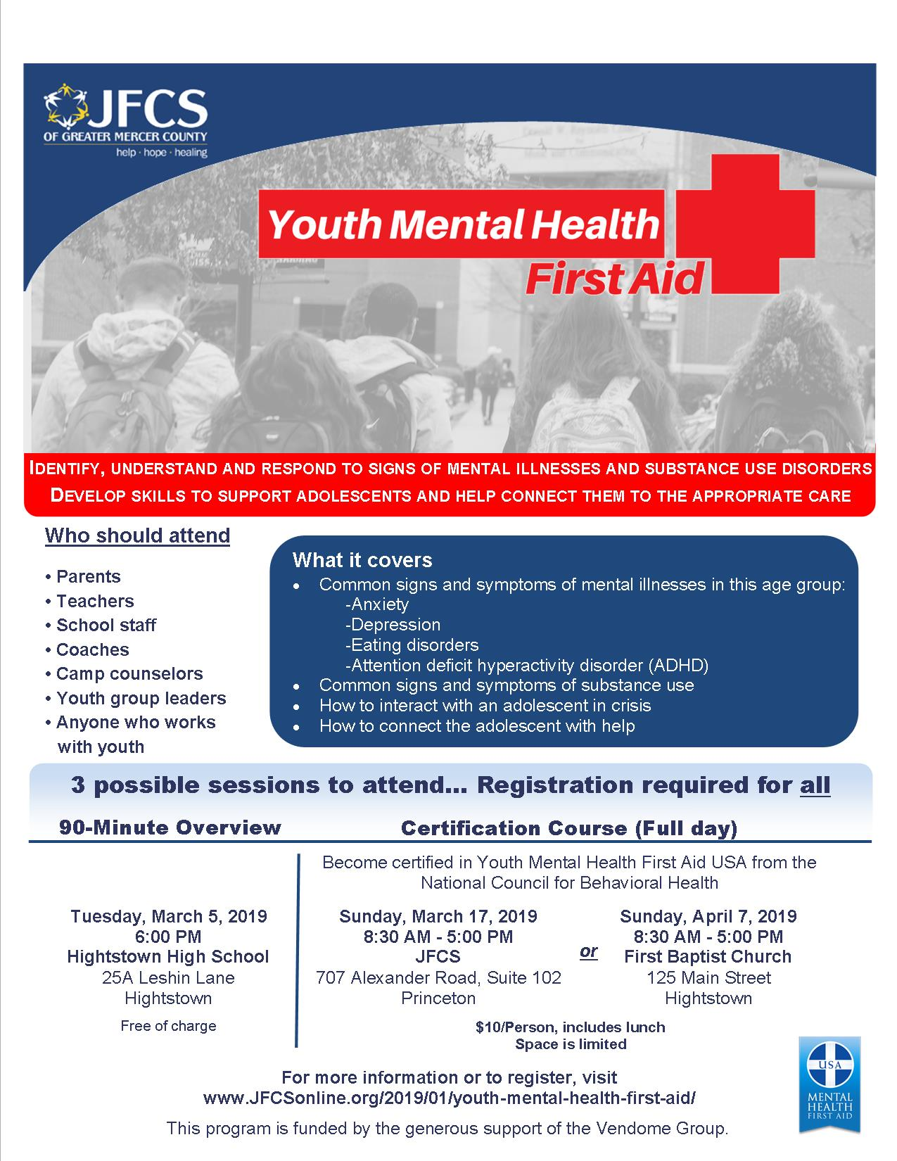 Youth Mental Health First Aid Hightstown Borough
